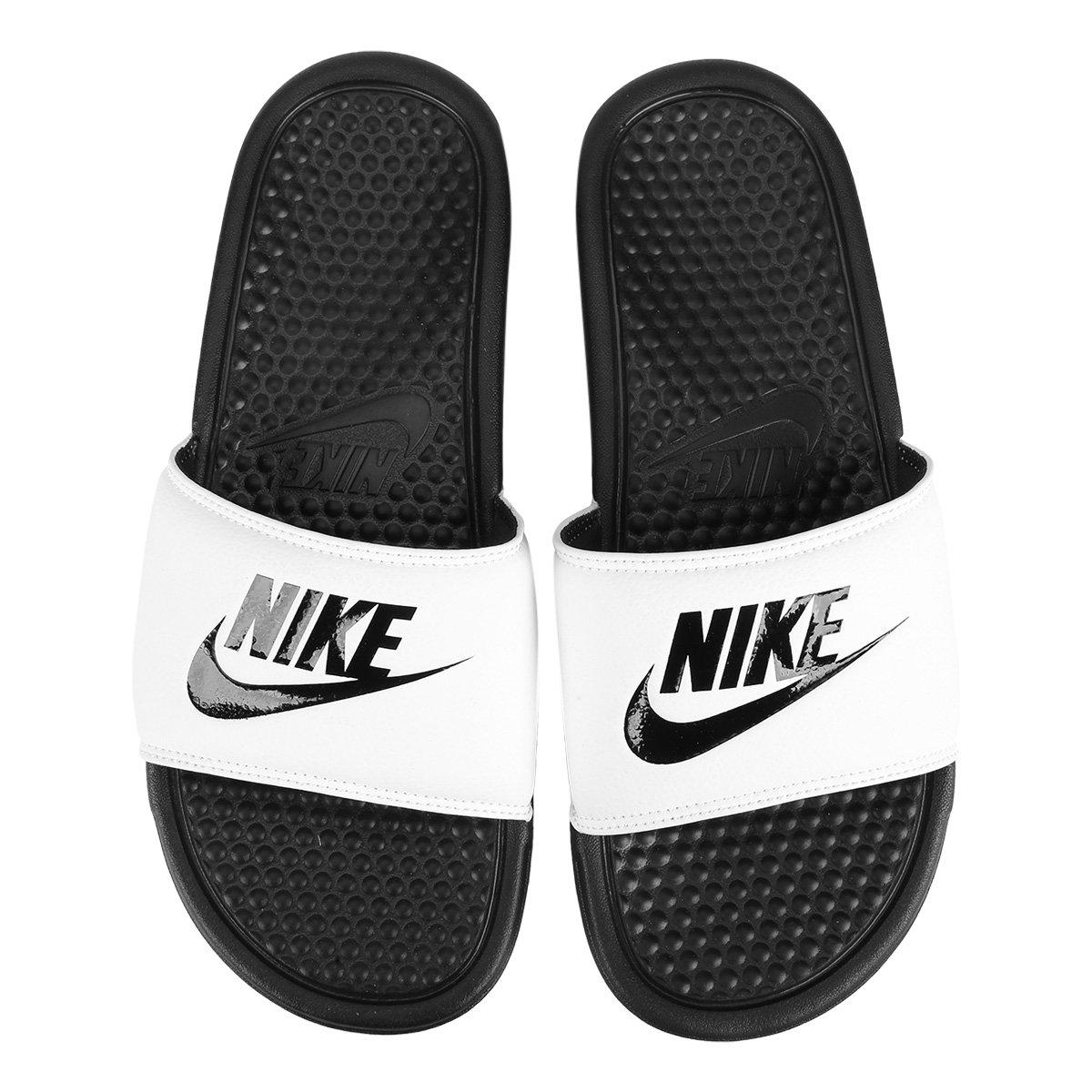 f3960eced88 Sandália Nike Benassi JDI Masculina - Branco e Preto - Compre Agora ...
