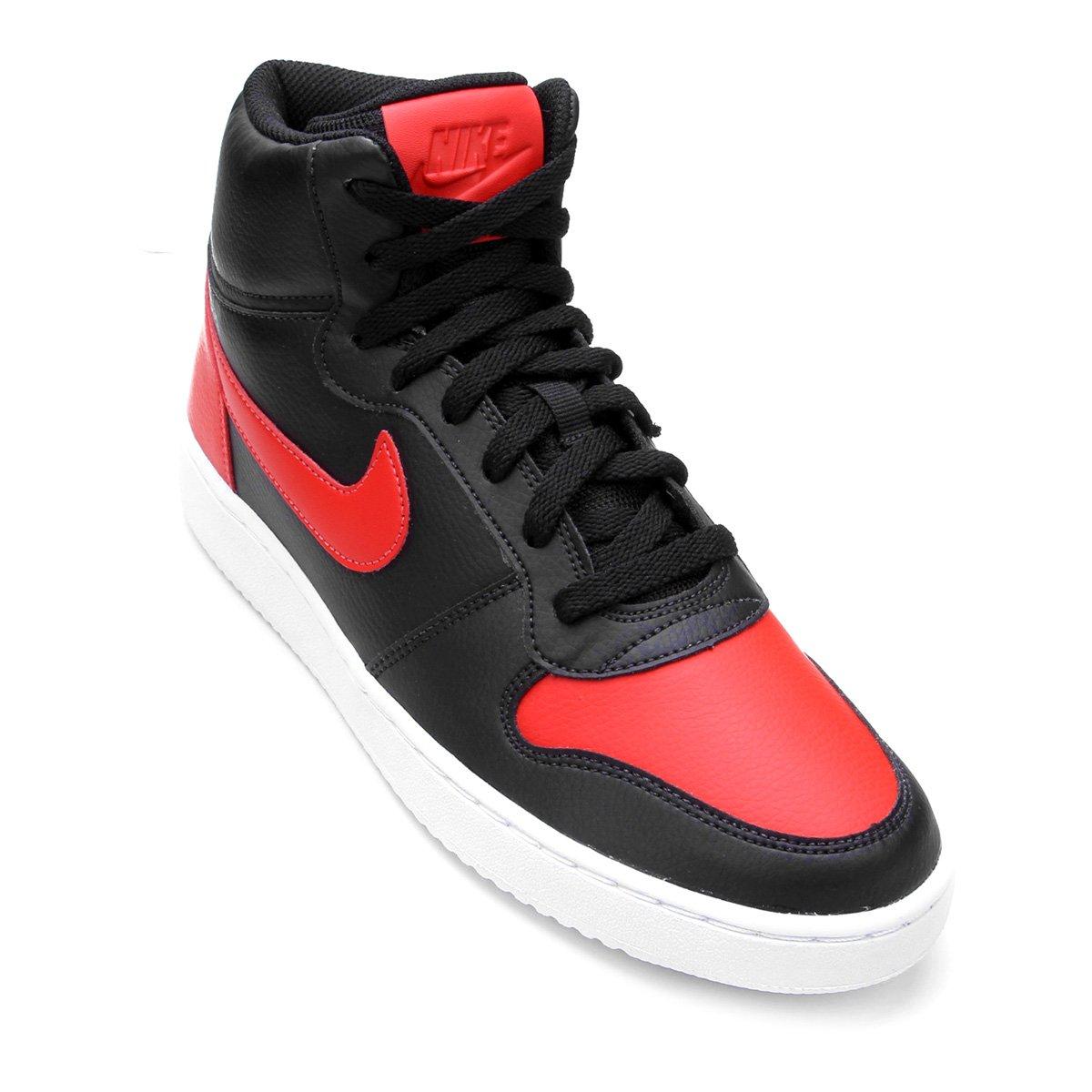 24bfe7c8d0 Tênis Couro Cano Alto Nike Ebernon Mid Masculino - Preto e Vermelho -  Compre Agora