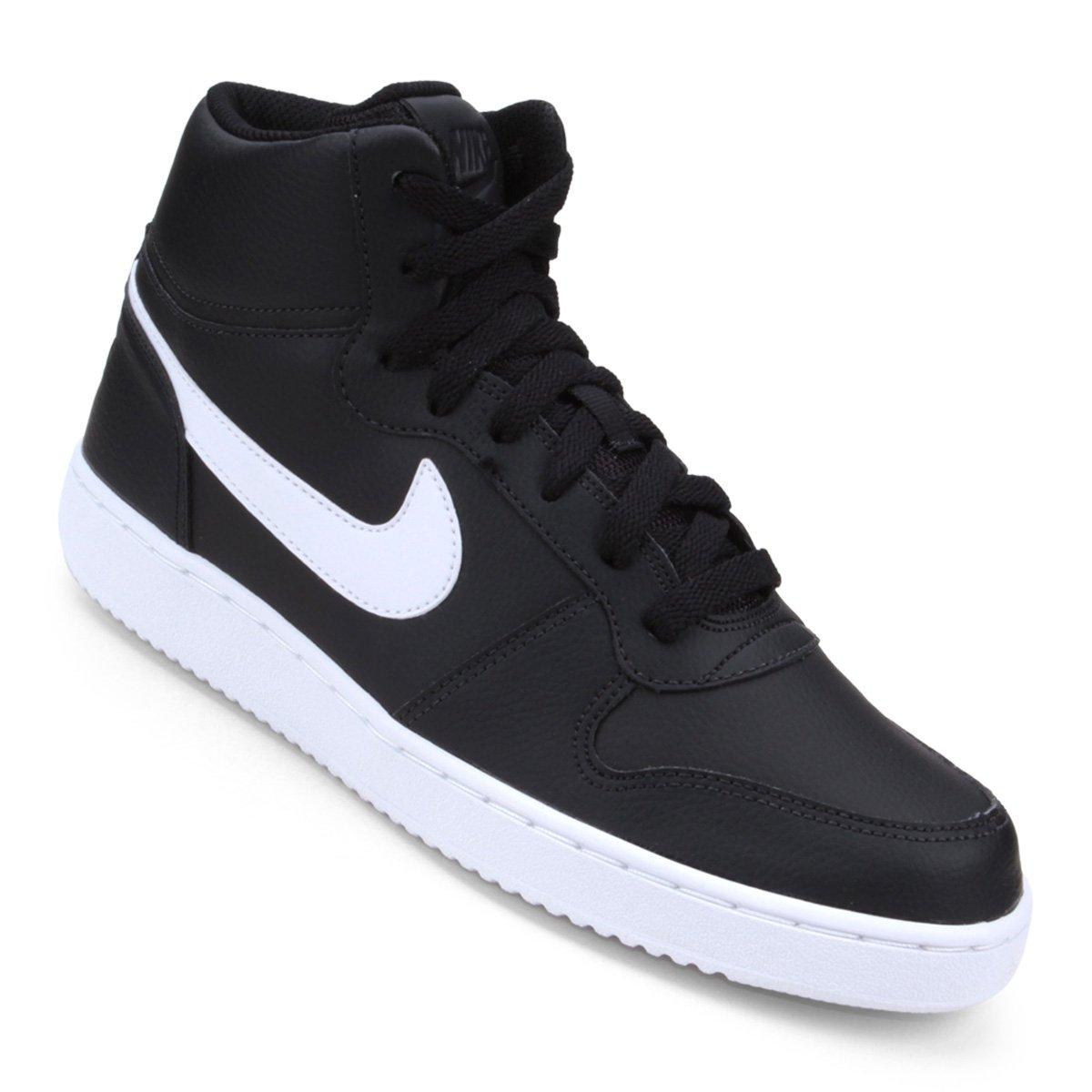 Tênis Couro Cano Alto Nike Ebernon Mid Masculino - Branco e Preto ... fa16cfd462ea2