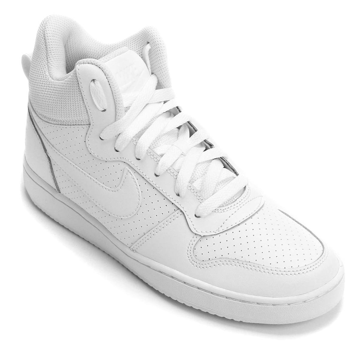 Tênis Couro Cano Alto Nike Recreation Mid Feminino - Branco - Compre ... 48610bed30299