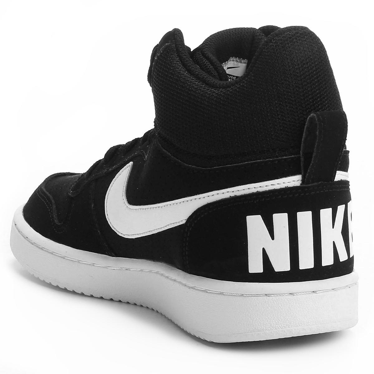 Tênis Couro Cano Alto Nike Recreation Mid Feminino - Preto e Branco ... 7a7dad0bc059e