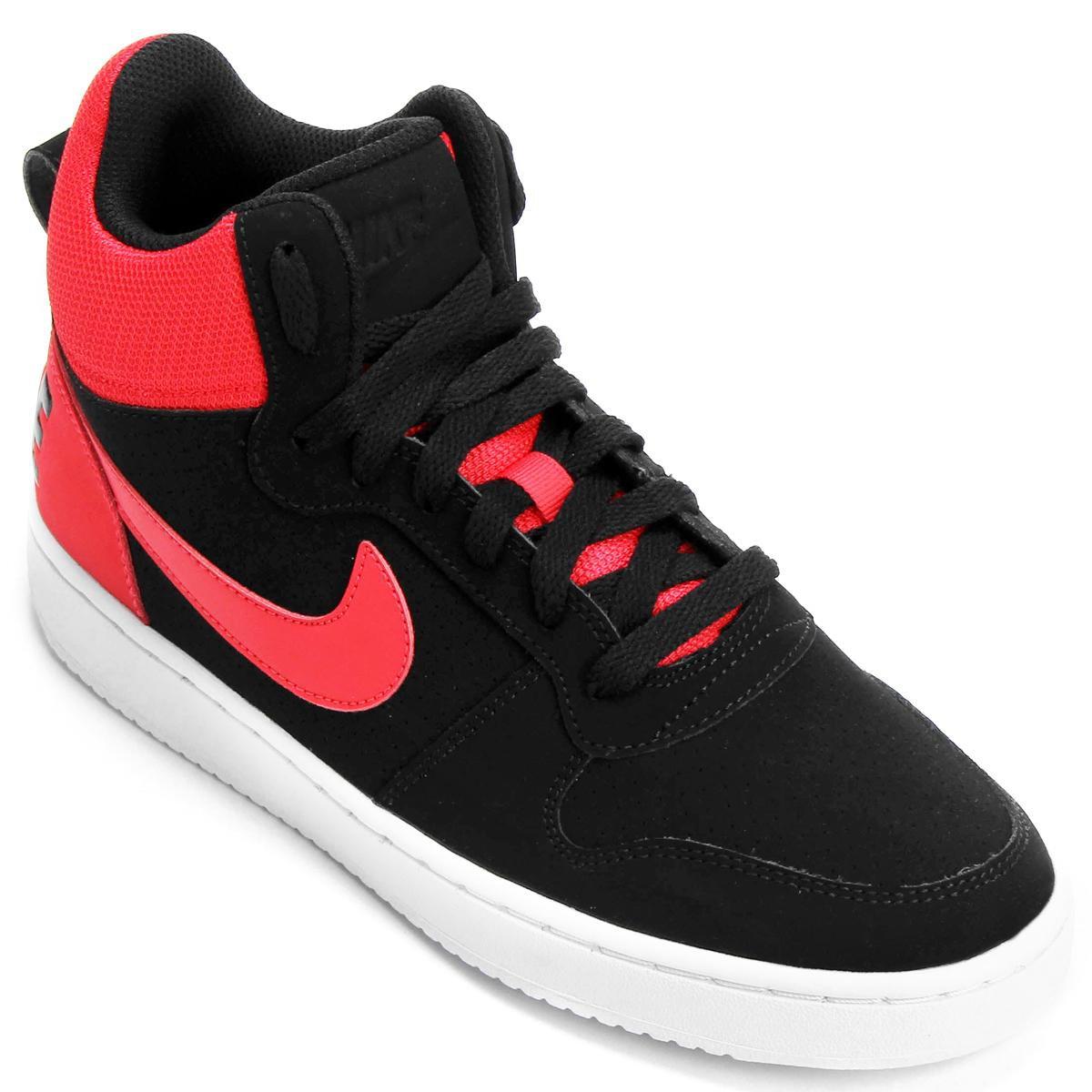 de252b6c973 Tênis Couro Cano Alto Nike Recreation Mid Masculino - Preto e Vermelho - Compre  Agora