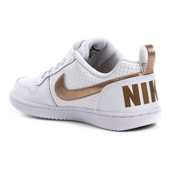 Tênis Couro Infantil Nike Court Borough Low Ep Velcro Psv Feminino Branco E Dourado