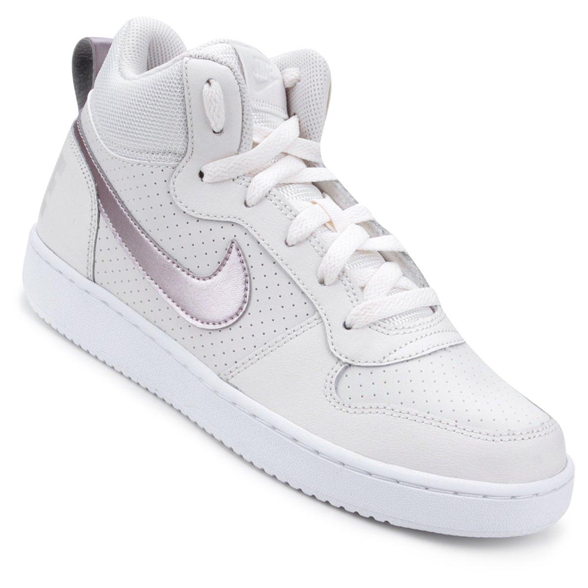 90b8725994e Tênis Couro Nike Court Borough Mid - Branco e Rosa - Compre Agora ...