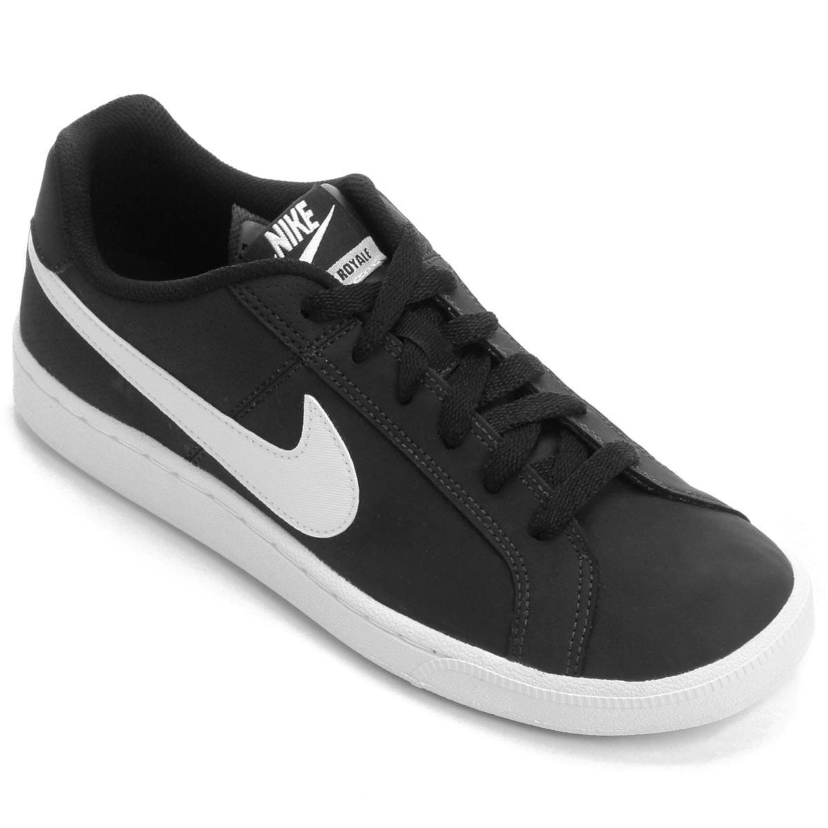 Tênis Couro Nike Court Royale Feminino - Branco e Preto - Compre ... 5f64e194165c3