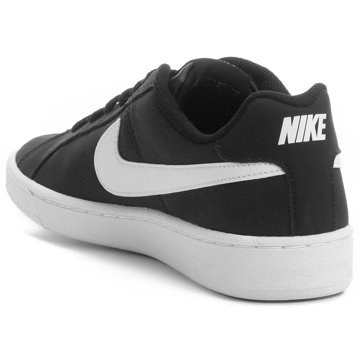 Tênis Couro Nike Court Royale Feminino - Branco e Preto - Compre ... e51e7c0be7a82