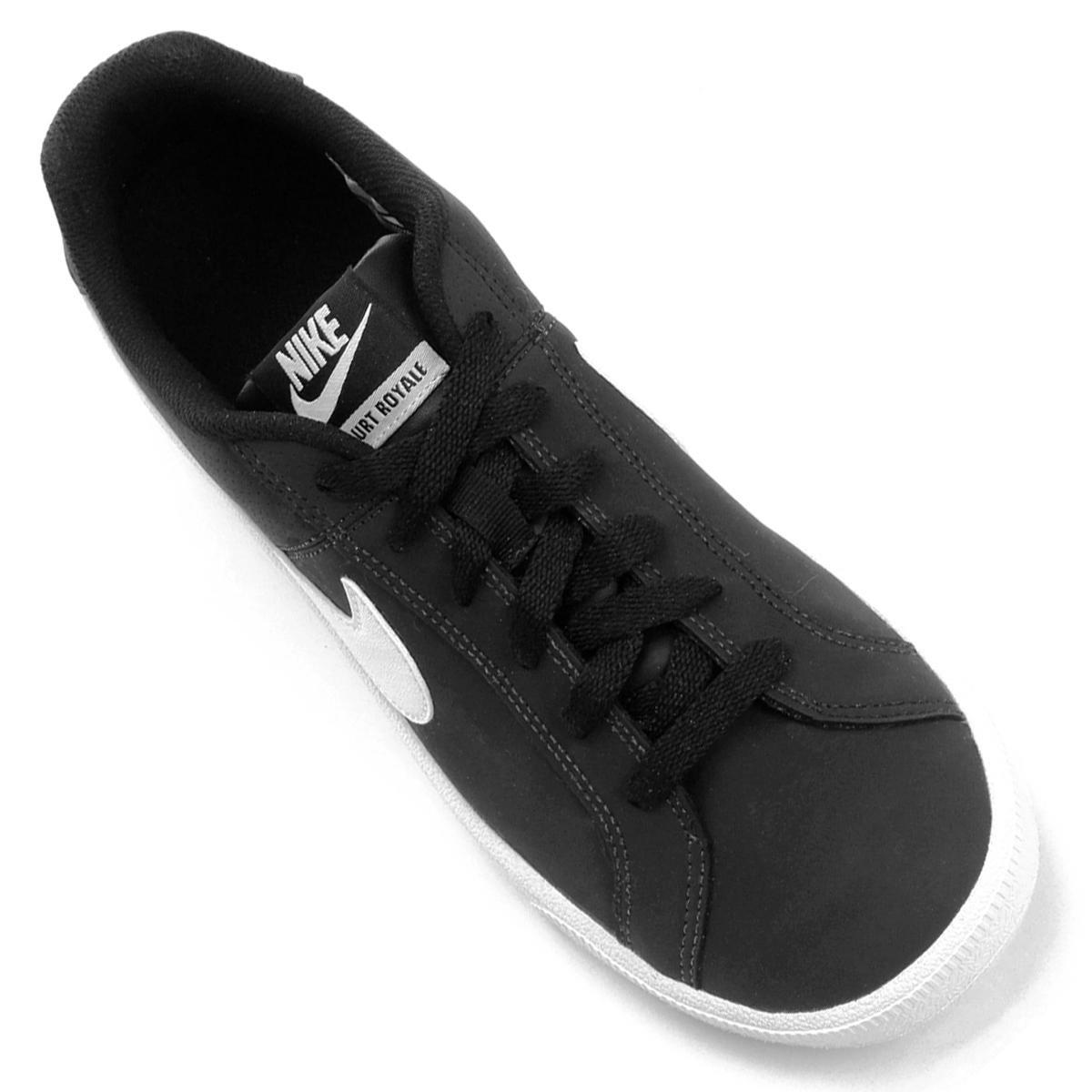 51cb930a69 Tênis Couro Nike Court Royale Feminino - Branco e Preto - Compre ...