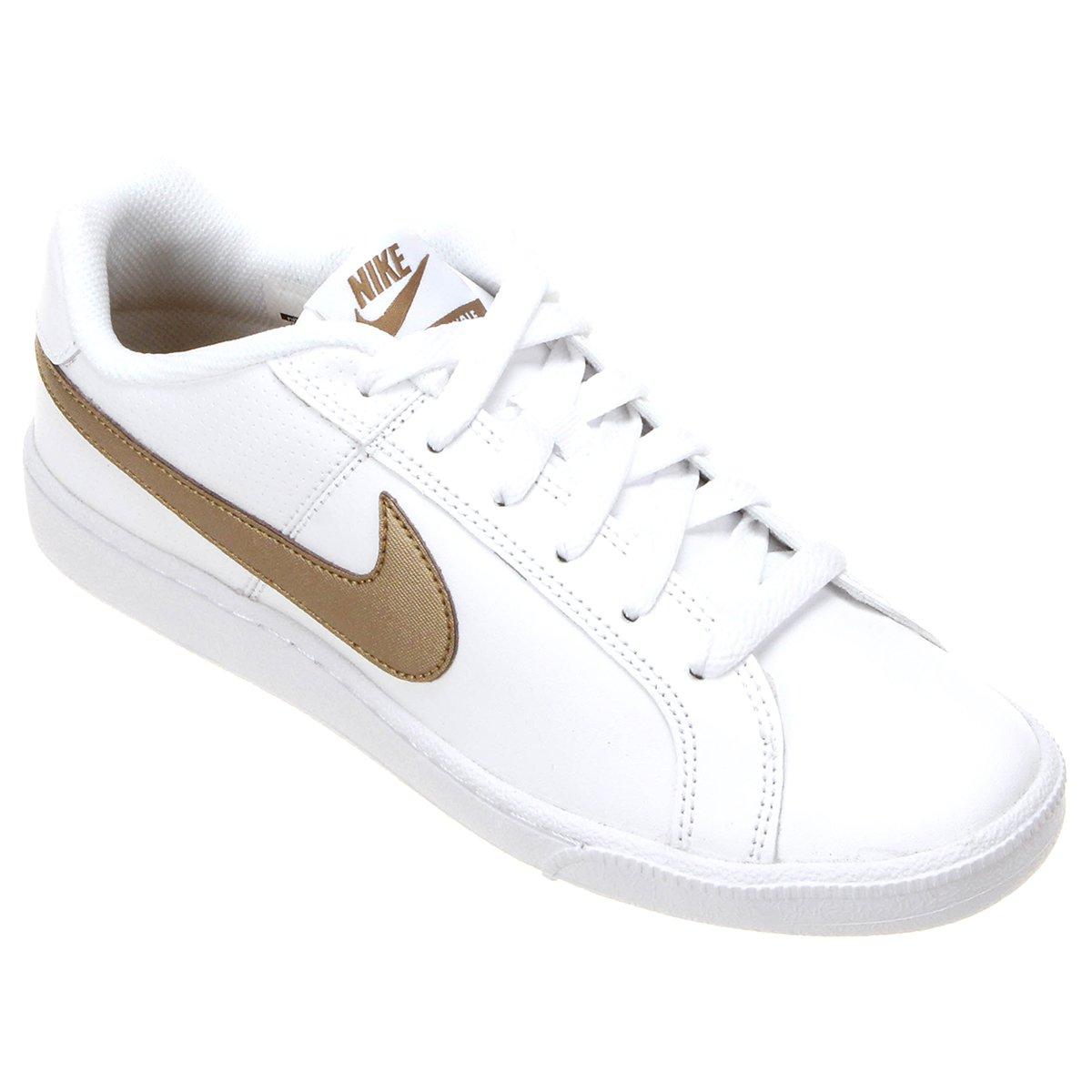a7a24ce2cda Tênis Couro Nike Court Royale Feminino - Branco e dourado - Compre Agora