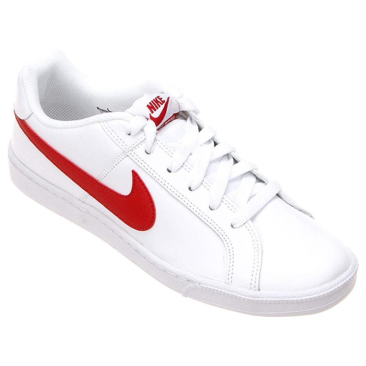 058439f5e0d Tênis Couro Nike Court Royale Masculino - Branco e Vermelho - Compre Agora