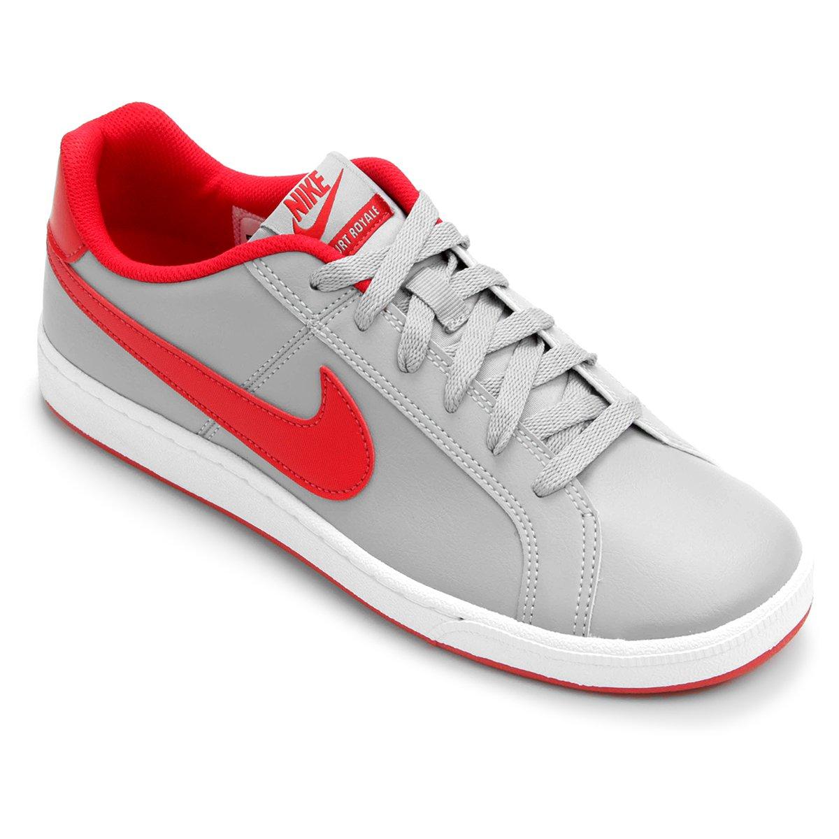 b32533add1 Tênis Couro Nike Court Royale Masculino - Cinza e Vermelho - Compre ...