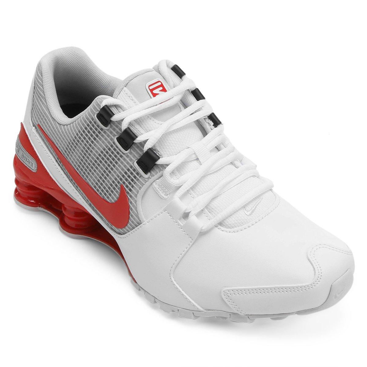 bcef847f50 Tênis Couro Nike Shox Avenue LTR Masculino - Vermelho e Branco ...