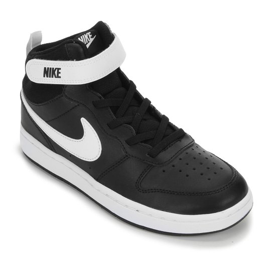 Tênis Infantil Cano Médio Nike Court Borough - Preto+Branco