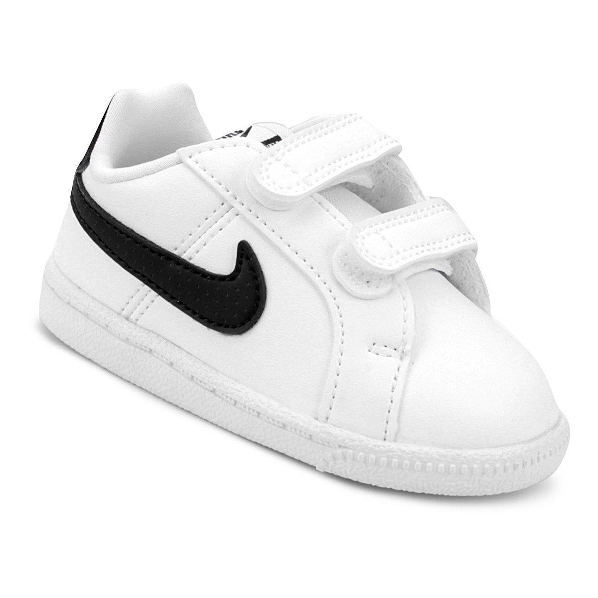 a4055961a9 Tênis Infantil Couro Nike Court Royale Sl Masculino - Branco e Preto ...