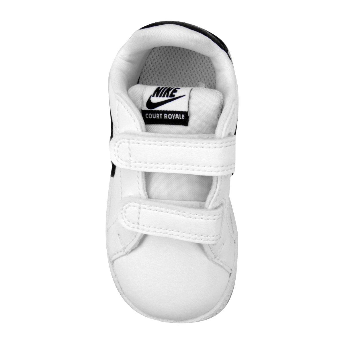 b175849294 Tênis Infantil Couro Nike Court Royale Sl Masculino - Branco e Preto ...