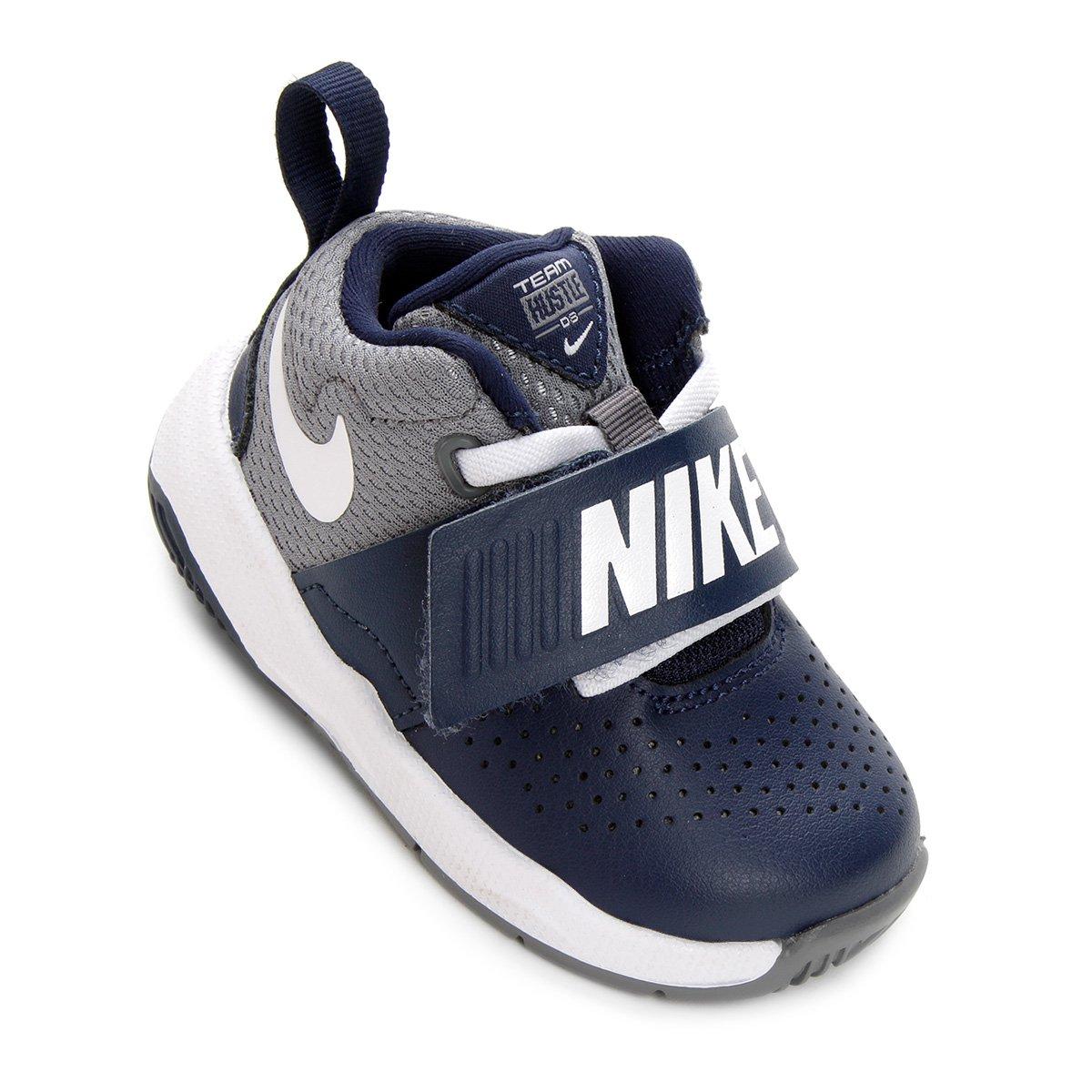 a257caa52cd Tênis Infantil Couro Nike Team Hustle D Masculino - Azul e Cinza - Compre  Agora