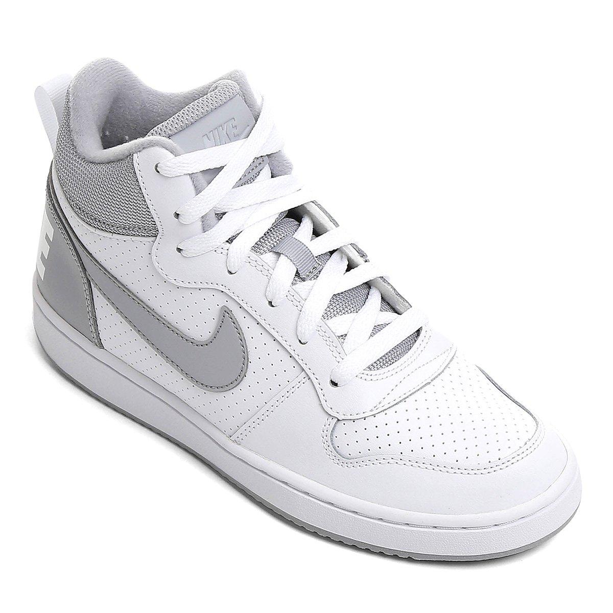 847f1af488 Tênis Infantil Nike Court Borough Mid Masculino - Branco e Cinza ...
