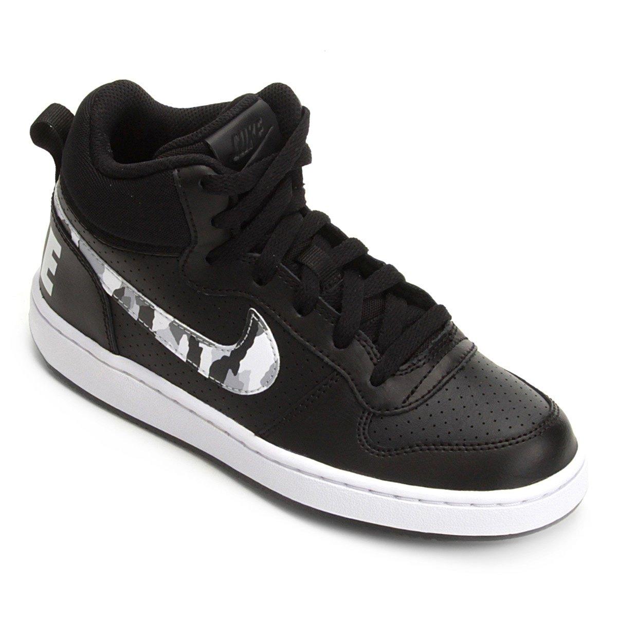 f4c27fc540d Tênis Infantil Nike Court Borough Mid Masculino - Preto e Branco - Compre  Agora