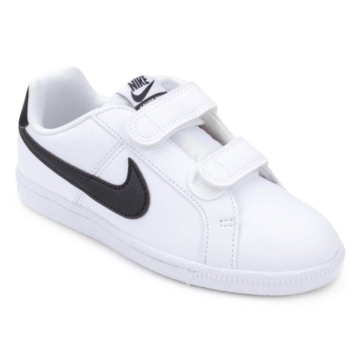 8a2e2df3e55cb Tênis Infantil Nike Court Royale Masculino - Branco e Preto | Shop Timão
