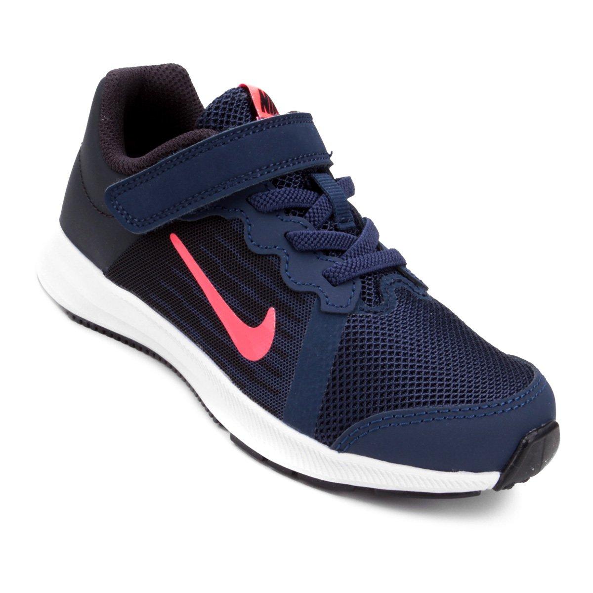 1021473aa3c Tênis Infantil Nike Downshifter 8 Feminino - Marinho e Rosa Claro - Compre  Agora