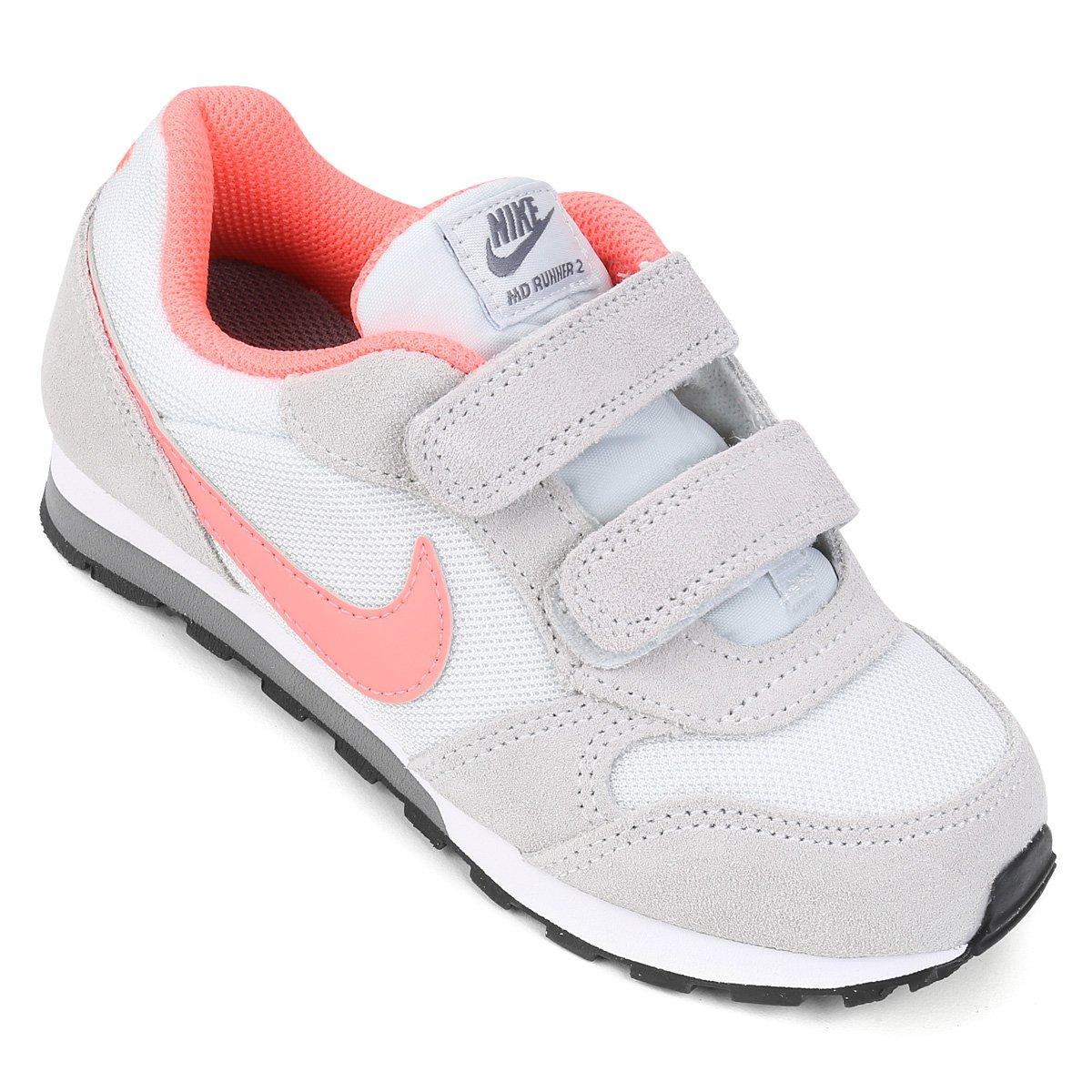 fe8319bb3a0 Tênis Infantil Nike Md Runner 2 Feminino - Branco e Rosa - Compre Agora