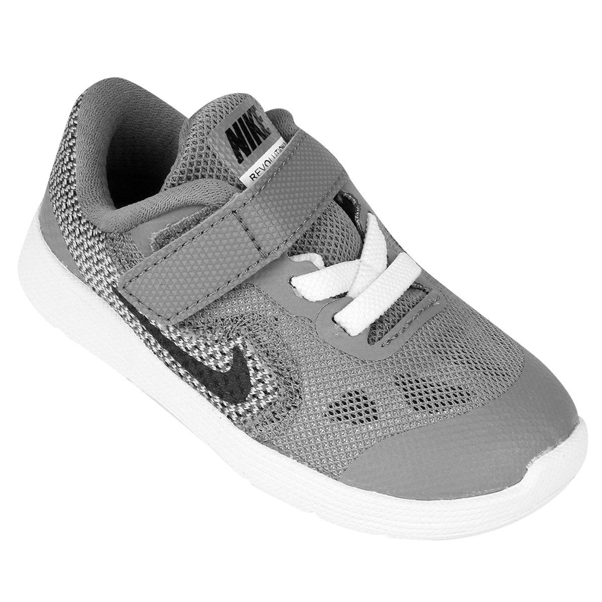 956e1a48fc Tênis Infantil Nike Revolution 3 - Cinza e Branco