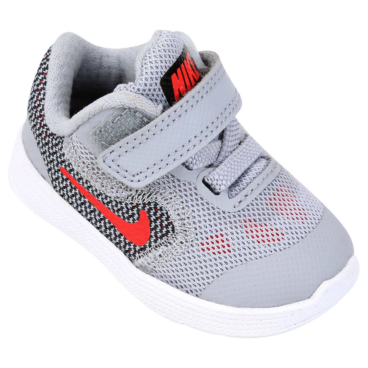 2a03c02f01 Tênis Infantil Nike Revolution 3 - Cinza e Vermelho - Compre Agora ...