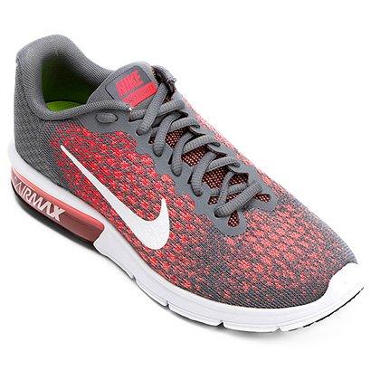 c02fb432d5ab29 Tênis Nike Air Max Sequent 2 Feminino - Cinza e Vermelho | Shop Timão