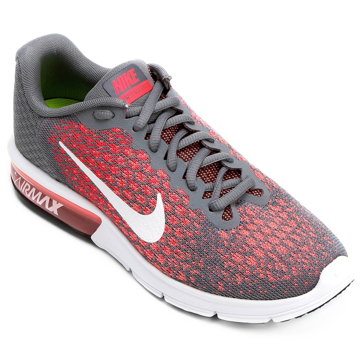 b113ad00c0 Tênis Nike Air Max Sequent 2 Feminino - Cinza e Vermelho | Shop Timão