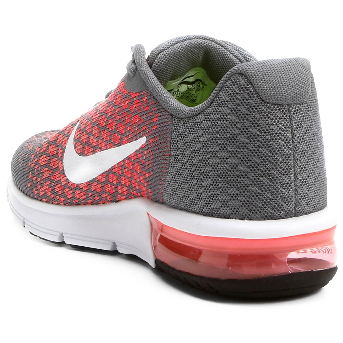 T 234 Nis Nike Air Max Sequent 2 Feminino Cinza E Vermelho