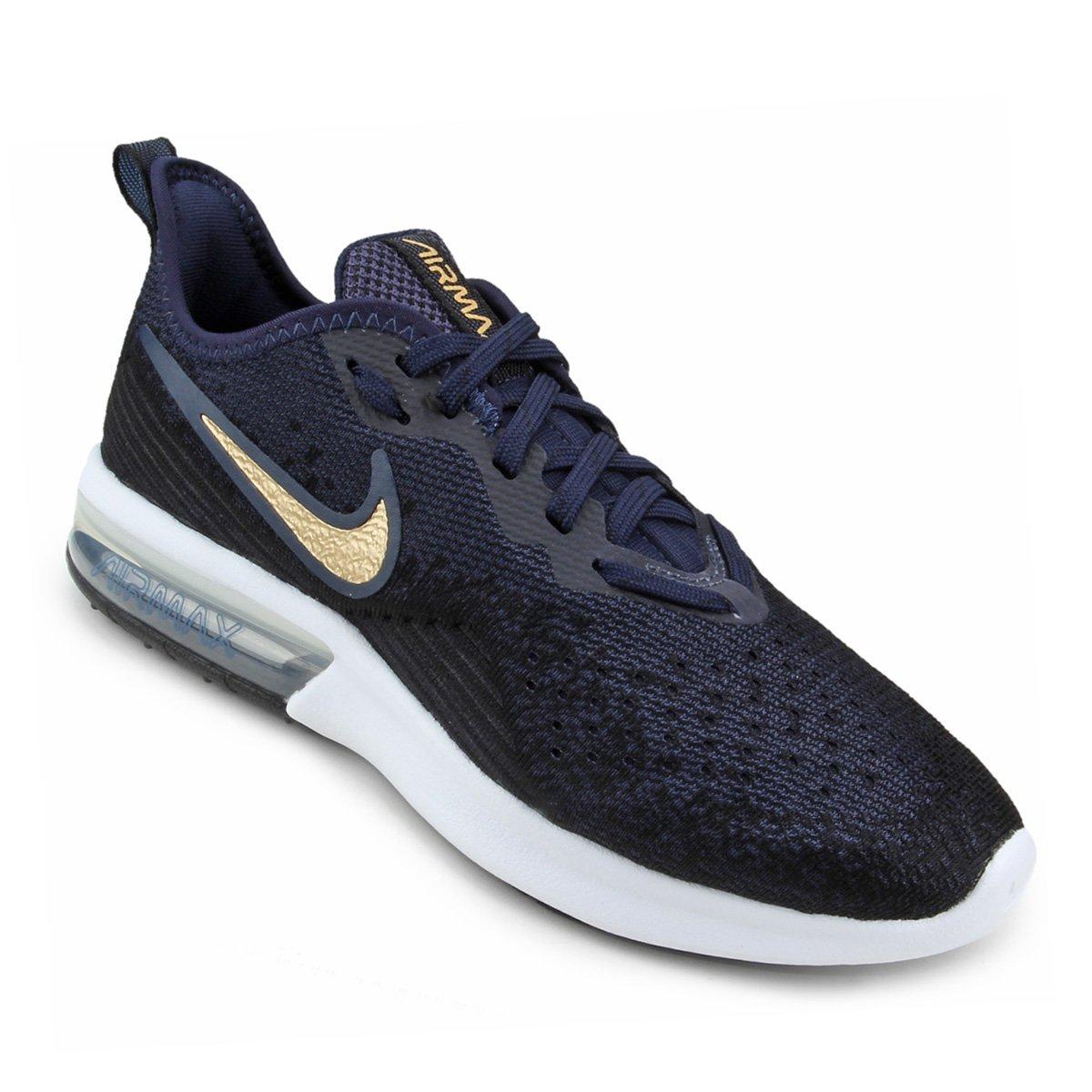bac781decc8 Tênis Nike Air Max Sequent 4 Feminino - Preto e Azul - Compre Agora ...