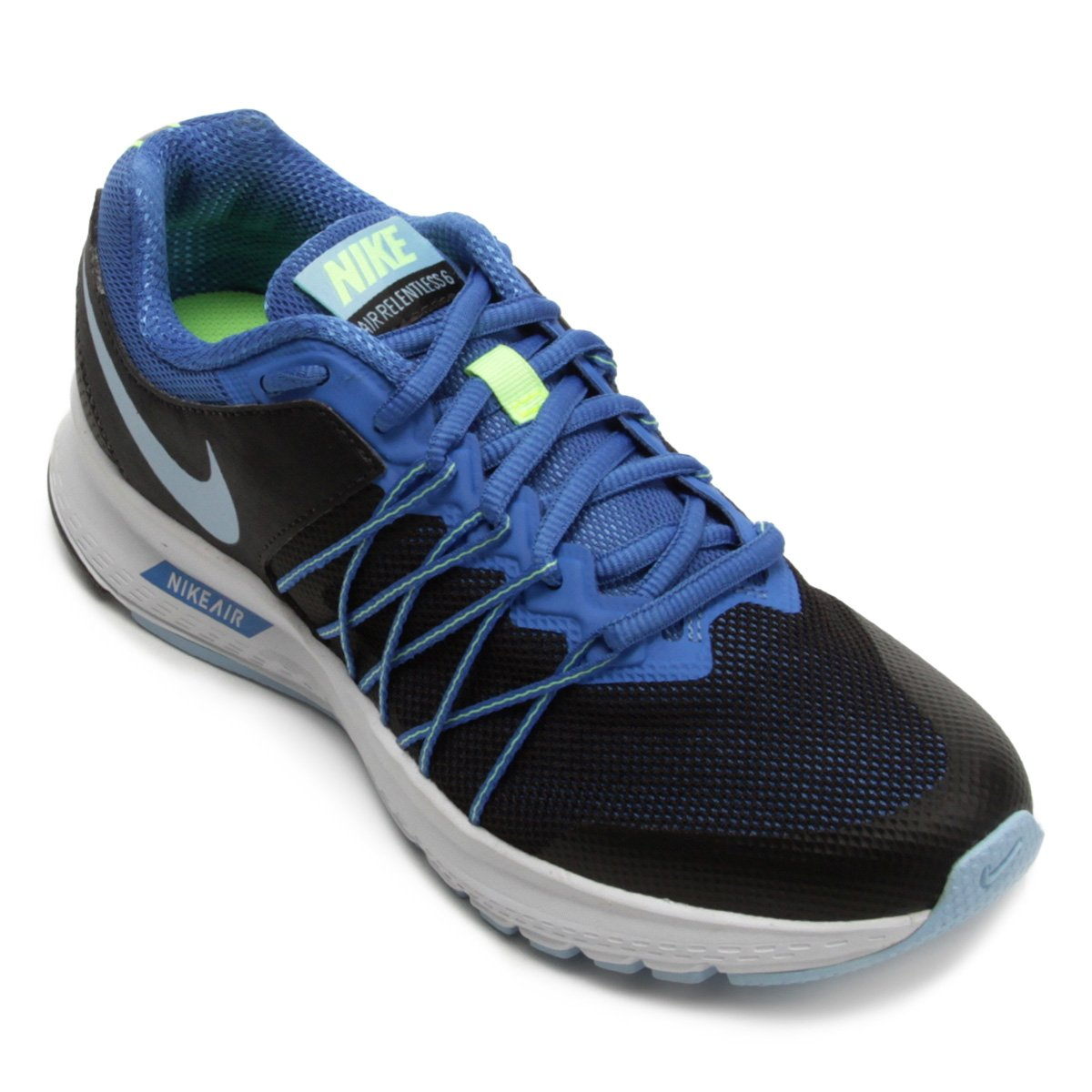 05991e93cea Tênis Nike Air Relentless 6 MSL Feminino - Preto e Azul - Compre Agora