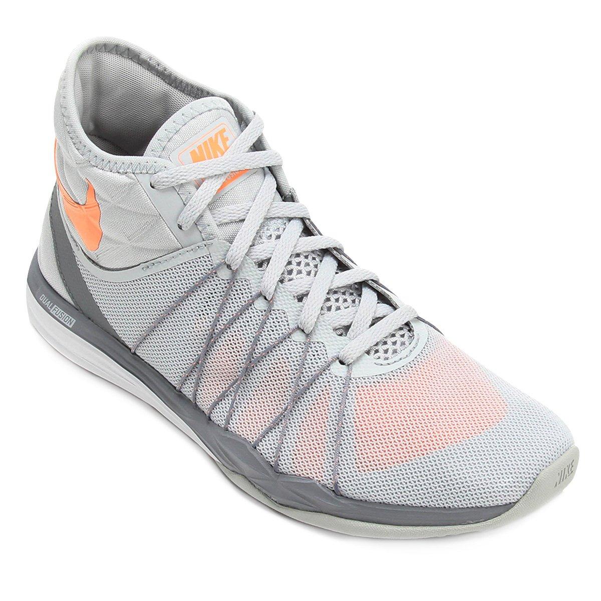 d0bcdd2a9 Tênis Nike Dual Fusion TR Hit Feminino - Cinza e Laranja | Shop Timão