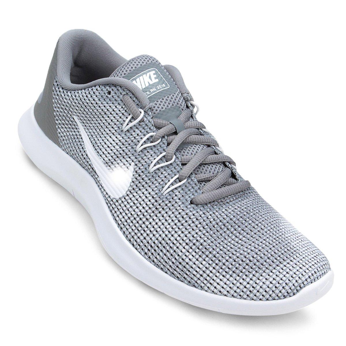patrones de moda materiales de alta calidad mejor autentico Tênis Nike Flex 2018 Rn Masculino - Cinza e Branco