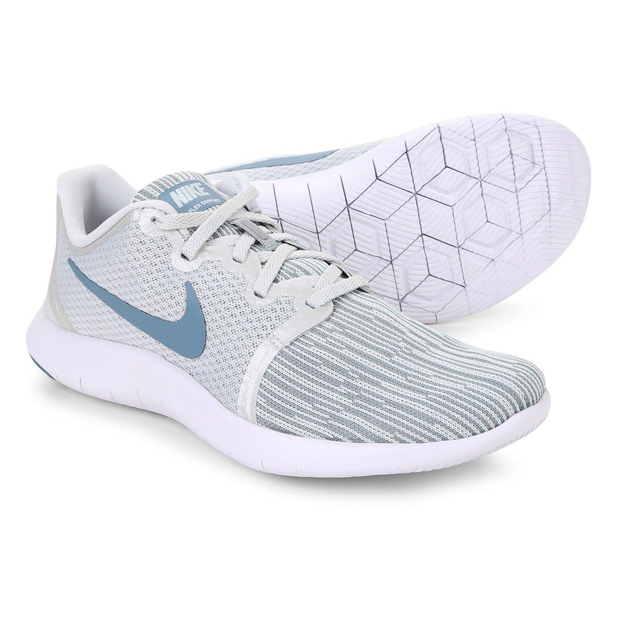 fa5d64e5280 Tênis Nike Flex Contact 2 Feminino - Branco e Azul Petróleo - Compre Agora