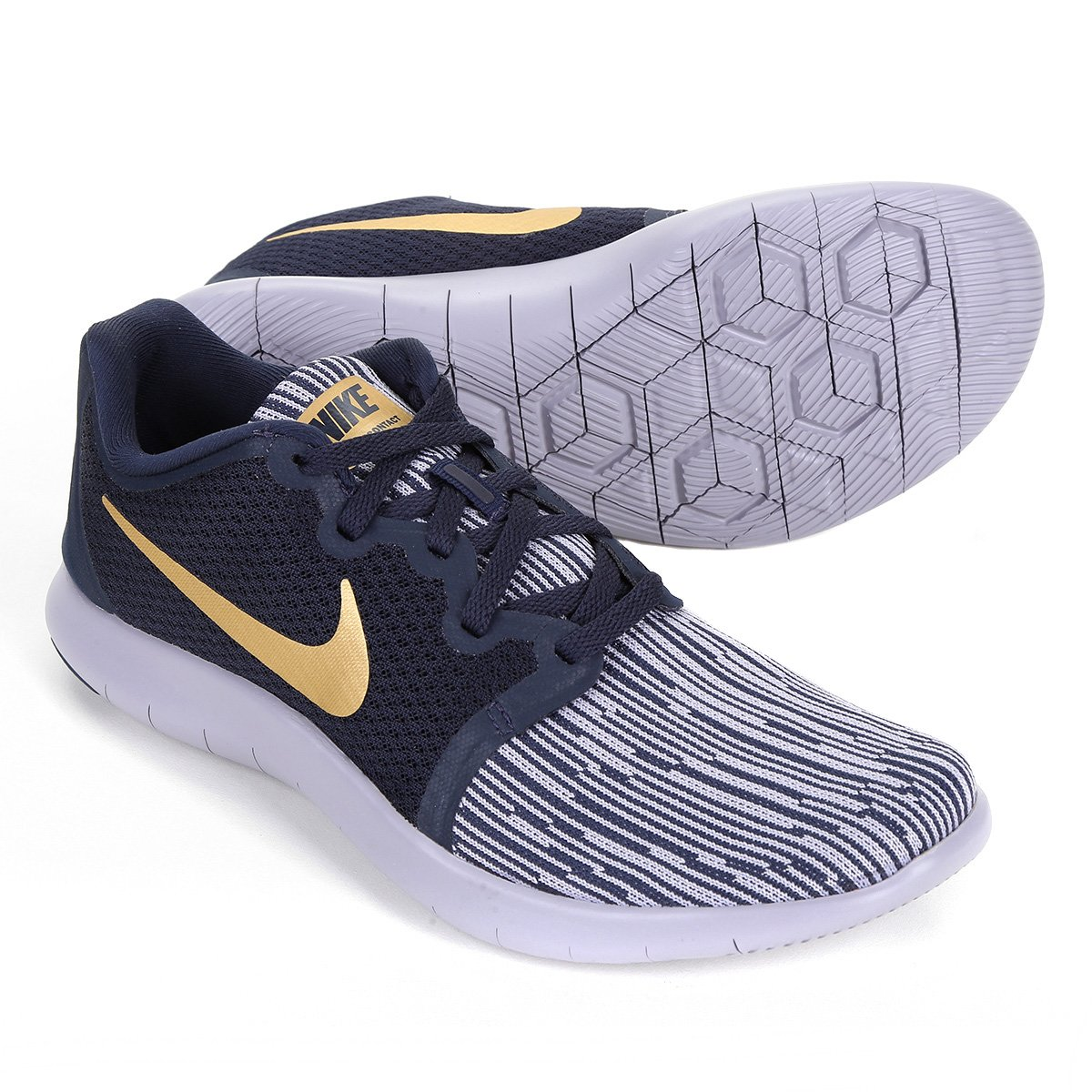 b2dbd70ef98 Tênis Nike Flex Contact 2 Feminino - Preto e Dourado - Compre Agora ...
