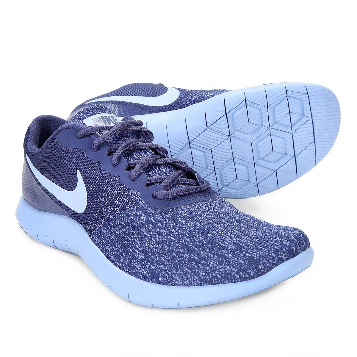 9749e3b0ef Tênis Nike Flex Contact Feminino - Azul e Roxo - Compre Agora