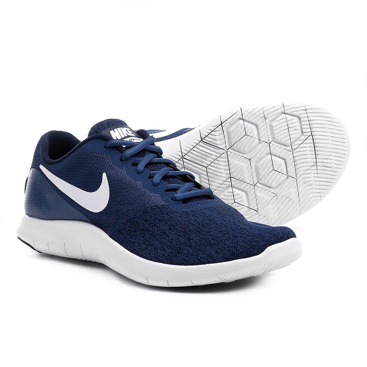 185a0687b9802 Tênis Nike Flex Contact Masculino - Marinho e Branco - Compre Agora ...