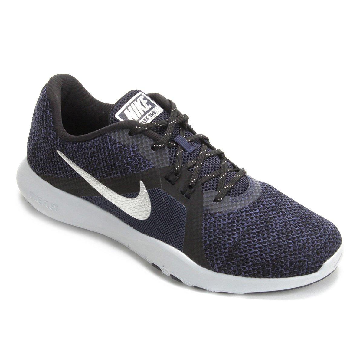 Tênis Nike Flex Trainer 8 Premium Feminino - Azul e Prata - Compre ... bf10a657c4579