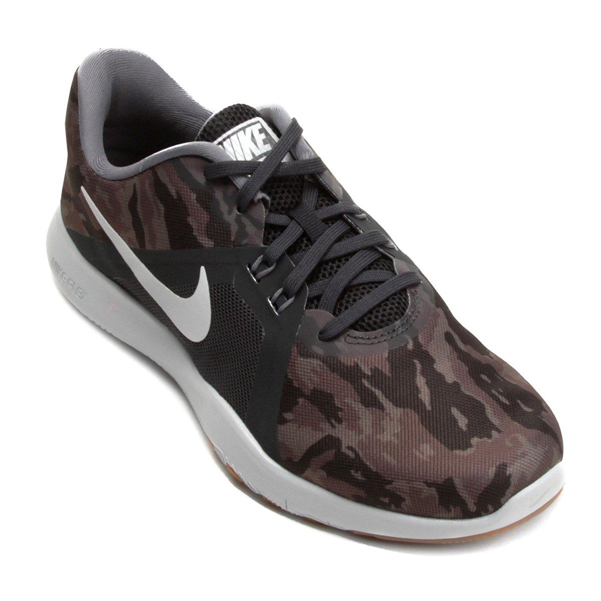f59135fe03 Tênis Nike Flex Trainer 8 Print Feminino - Cinza e Prata - Compre Agora