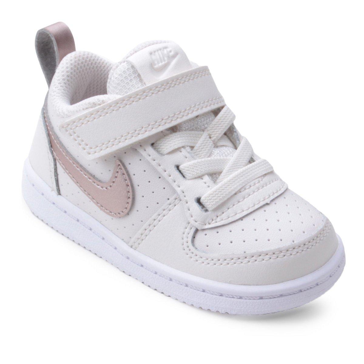 Tênis Nike Infantil Court Borough Low Feminino - Amarelo e Branco ... b2e5d0fdf1eeb