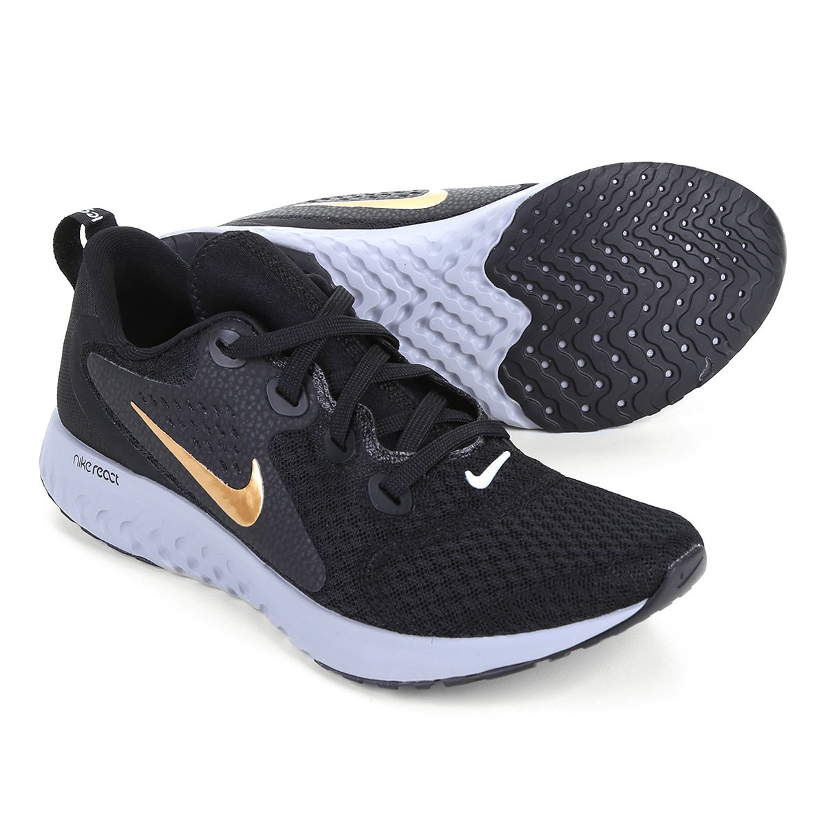 c235230977f4f Tênis Nike Legend React Feminino - Preto e Dourado - Compre Agora ...