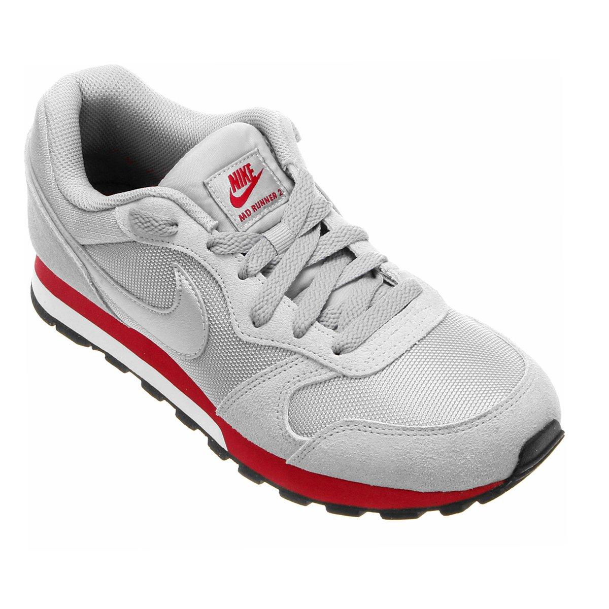 9d10989f7 Tênis Nike Md Runner 2 Feminino - Cinza e Vermelho - Compre Agora ...