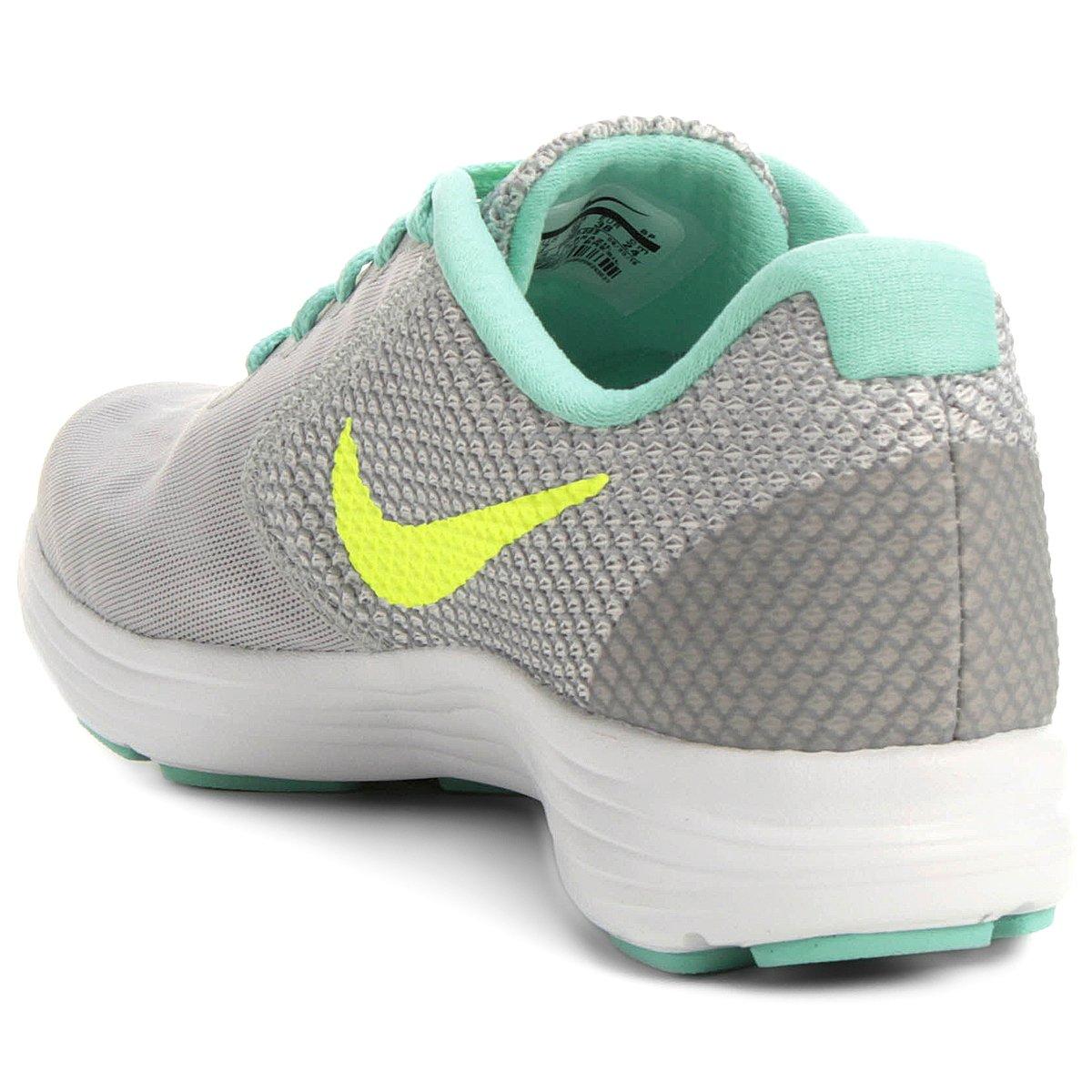 Tênis Nike Revolution 3 Feminino - Cinza e Verde Água - Compre Agora ... a5d970911597a