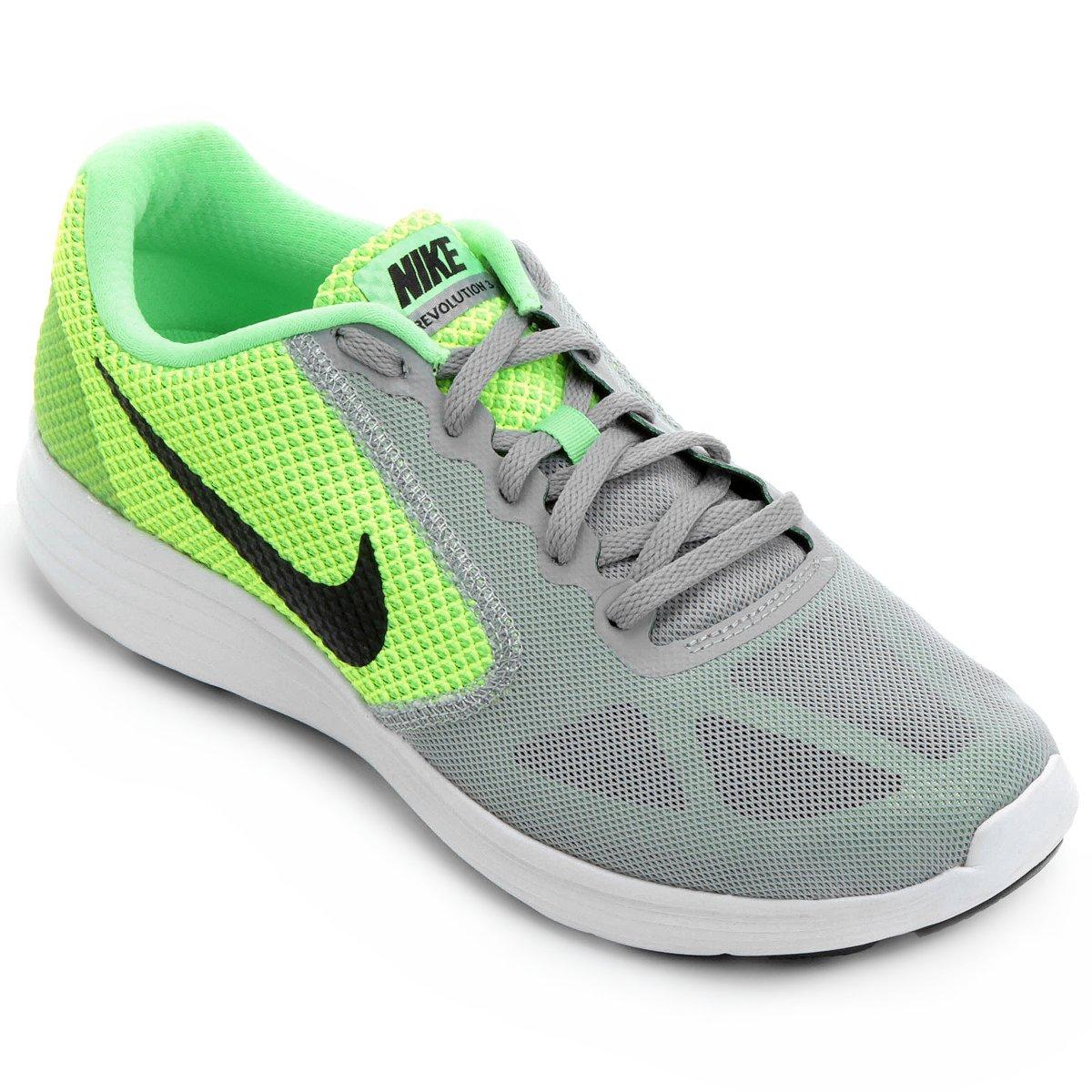 e4965819954 Tênis Nike Revolution 3 Masculino - Verde Limão e Cinza - Compre Agora
