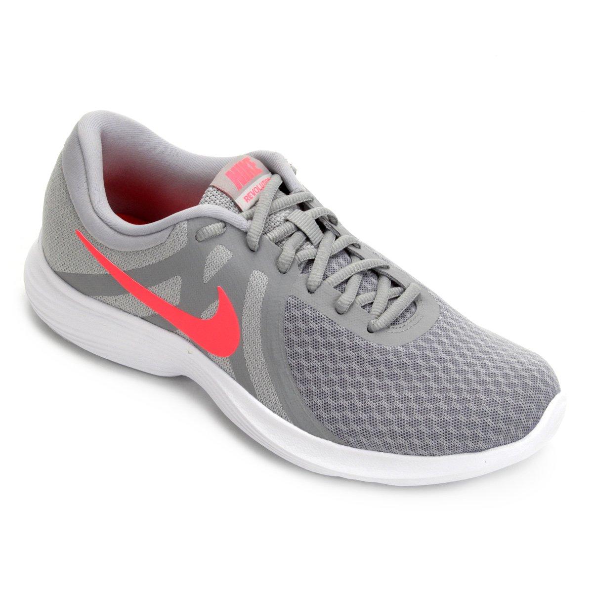 Tênis Nike Revolution 4 Feminino Cinza E Vermelho