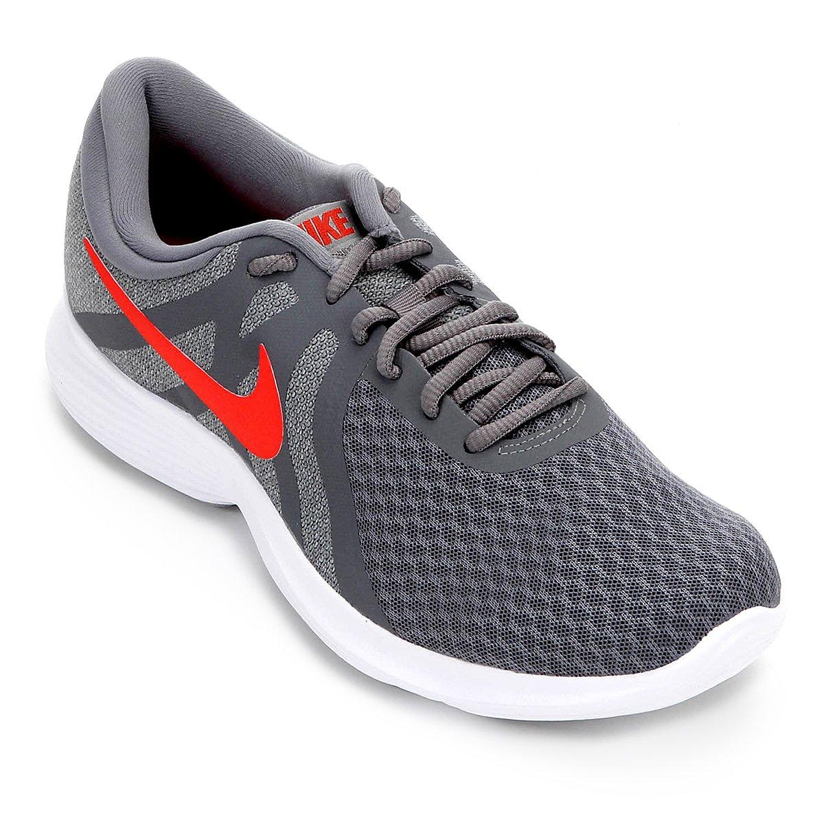 4e67c179f1c12 Tênis Nike Revolution 4 Masculino - Cinza e Vermelho - Compre Agora ...
