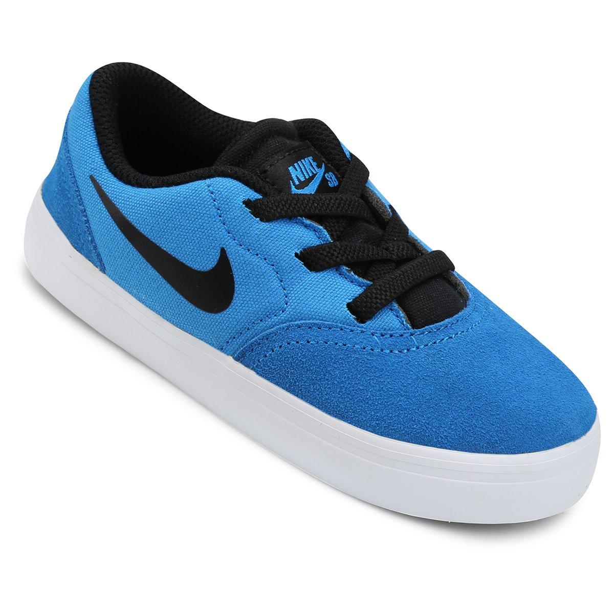 3bd6b0476e9 Tênis Nike SB Check Infantil - Azul e Preto - Compre Agora