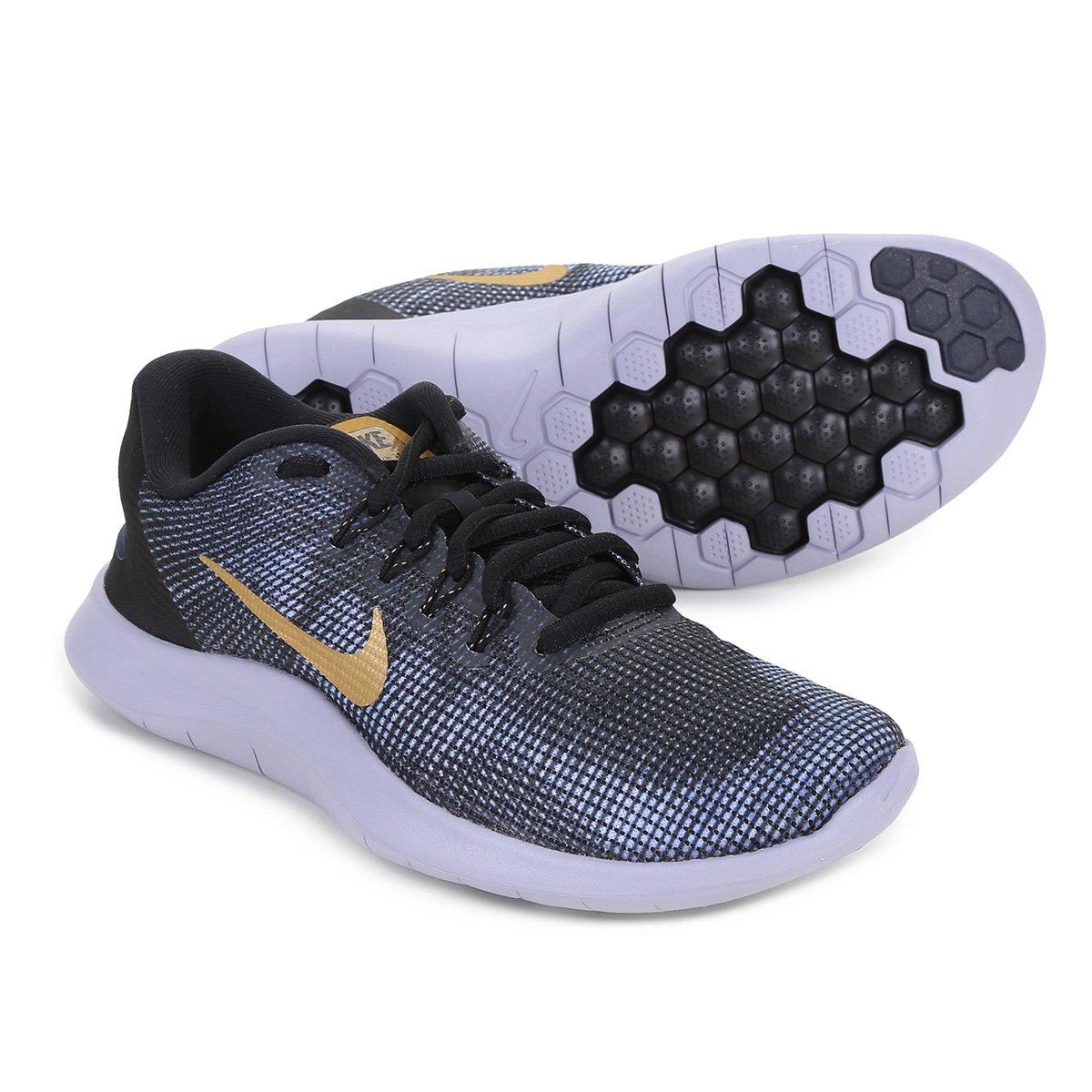 efcea70a0ed Tênis Nike Wmns Flex 2018 Rn Feminino - Preto e Dourado - Compre Agora