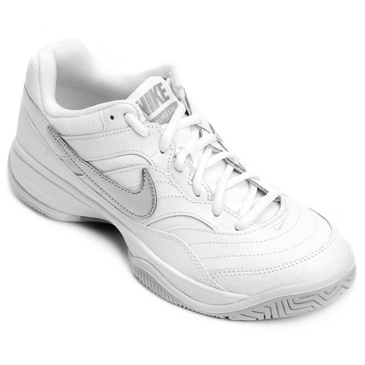 Tênis Nike Wmns Nike Court Lite Feminino - Branco e prata - Compre ... c2df99bcbf51a