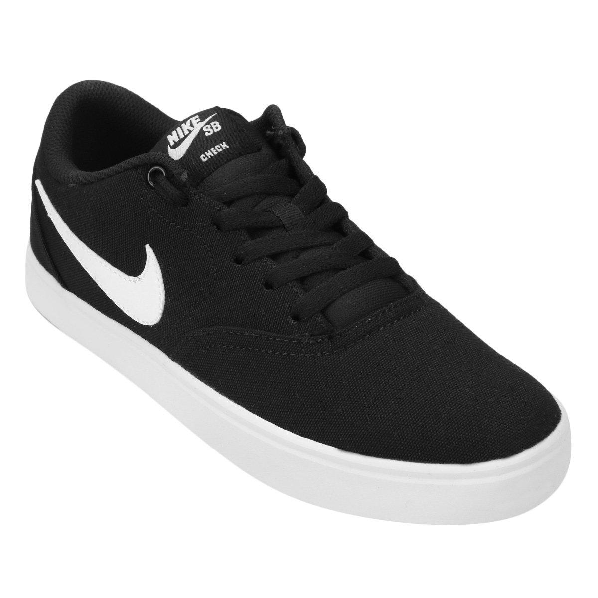 Tênis Nike Wmns Sb Check Solar Cnvs Feminino - Preto e Branco ... 412475bfaffef